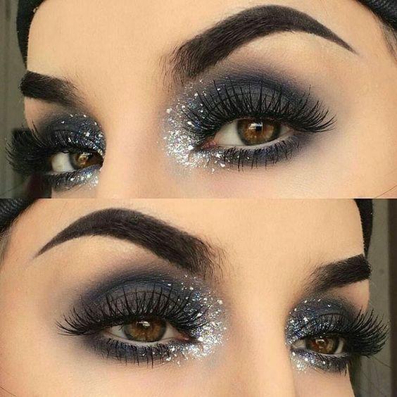 maquiagem preto com prata