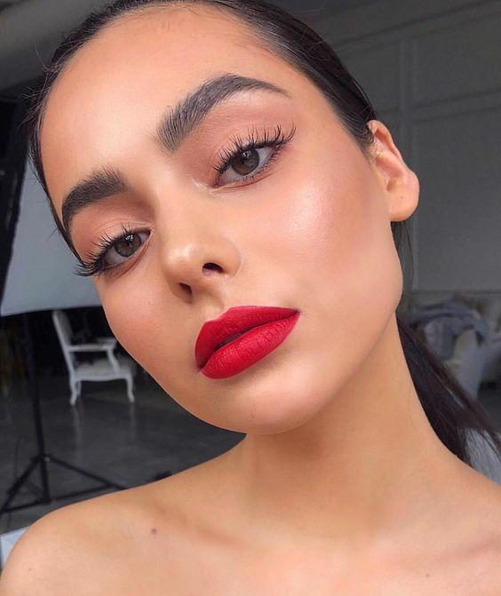 maquiagem natal batom vermelho